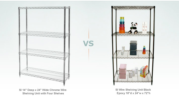 Chrome Wire vs. Chrome Epoxy Shelving