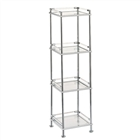 Mystic bathroom and linen storage tower with four glass shelves made from a metal frame and acrylic accents