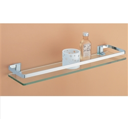 Glass Shelf with Nickel finish and Rail for bathroom storage