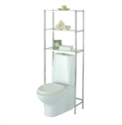 Glacier Glass and Metal Over Toilet Shelving with three shelves