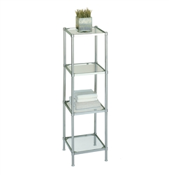 Glacier four tier glass shelving tower with metal frame