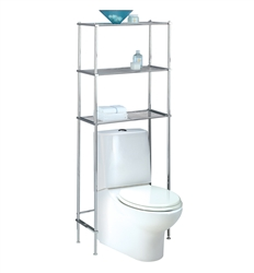 Chrome 3 Shelf Metal Wire Over Toilet Shelving