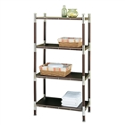 Baronial Wood and metal 4 Tier Rack in chrome and dark wood veneer