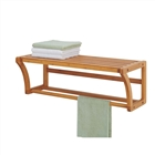 Lohas Bamboo Wall Mounted Shelf w/ Towel Bars