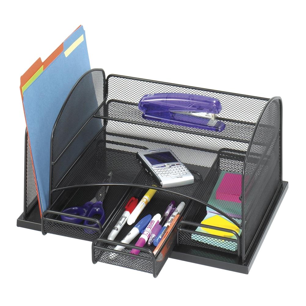 Mesh Organizer w/ 3 Drawers, file holder, and upper shelf