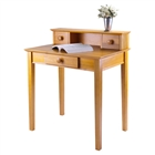 A studio writing desk with hutch in honey finish for your home office.