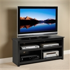 Entertainment center for flat-screen TV in black.