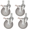 Set of four Poly urethane stem casters with brakes