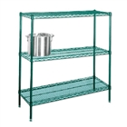 "24"" Green epoxy coated chrome wire 4 shelf unit"