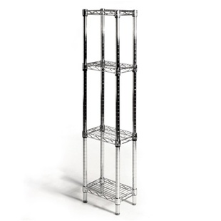 "Chrome Wire Shelving Unit with 4 Shelves - 8""d x 12""w"