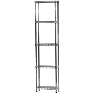 "Chrome Wire Shelving Unit with 5 Shelves - 8""d x 18""w x 72""h"