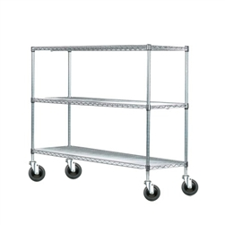 Wire shelving rack with three tiers and four casters.
