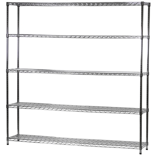 "14""d x 72""w Wire Shelving Unit with 5 Shelves"