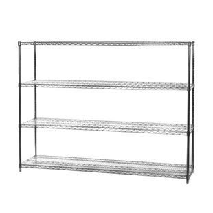 "18""d x 72""w Chrome Wire Shelving Unit with 4 Shelves"