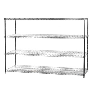 "24""d x 72""w Chrome Wire Shelving Unit with 4 Shelves"