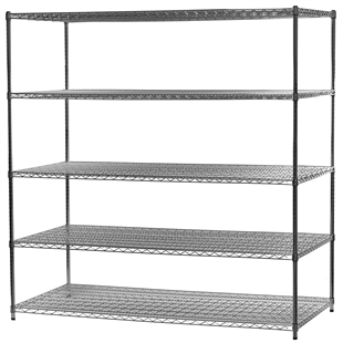"36""d x 72""w Wire Shelving Unit with 5 Shelves"