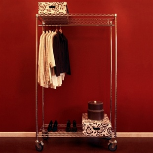 "Wire shelving mobile closet with 18""d x48""w shelves, casters, a set of posts, and a coat-rod kit."