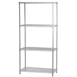 White Epoxy Wire Shelving Units w/ 4 Shelves