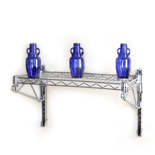 "8""d 1 Shelf Chrome Wire Wall Mounted Shelving Kit"