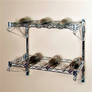 "14""d 2 Shelf Chrome Wire Wall Mounted Wine Shelving Kit"