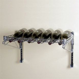 "14""d 1 Shelf Chrome Wire Wall Mounted Wine Shelving Kit"