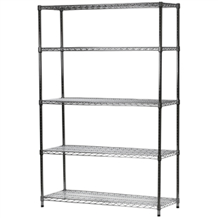 "Chrome Wire Shelving Unit with 5 Shelves - 18""d x 48""w x 96""h"