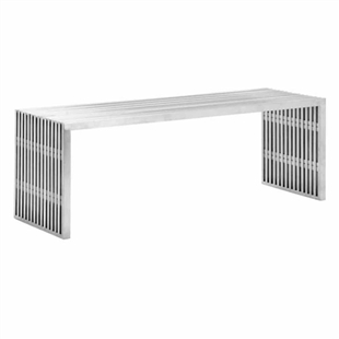 Novel Double Bench Brushed Stainless Steel