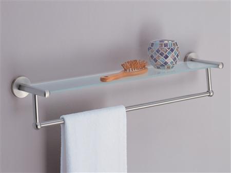 Glass Shelf With Satin Nickel Towel Bar For Bathroom Storage