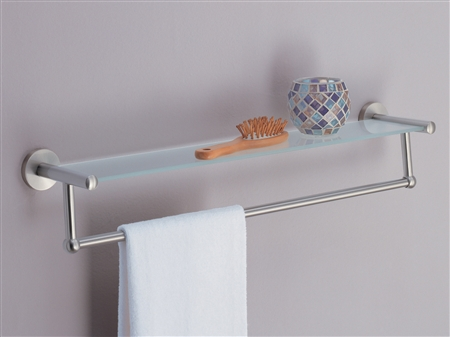 Bath Shelf With Satin Nickel Towel Bar