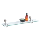 Glass Shelf with Satin Nickel Mounts for bathroom storage