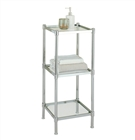 The tier shelving tower with glass shelves and metal frame