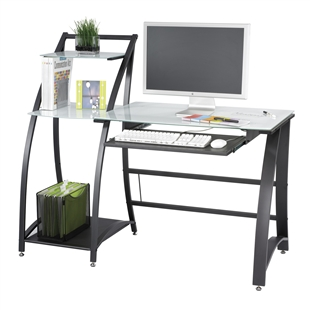 Xpressions Glass Top Computer Workstation w/ Shelving Stand