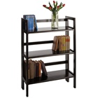 3-Tier Folding and Stackable bookcase in black