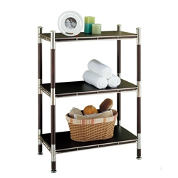 Baronial Wood and metal 3 Tier Rack chrome with dark wood accents