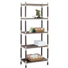 Baronial Wood and metal 5 Tier Shelf in chrome with dark wood accents