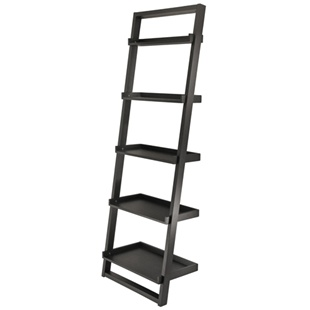 Bailey Leaning ladder bookcase with 5 shelves in espresso