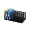 Black Vertical Mesh Organizer with 8 Upright Sections for File Folders