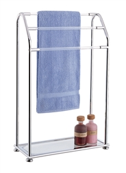 Metal, glass and acrylic 3 Bar Towel Rack w/ Bottom Shelf
