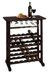 24-Bottle Wine Rack with Stemware holder-Espresso