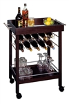 10 Wine Bottle Mobile Bar Cart in espresso wood