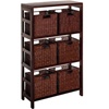 4 shelf bookcase with six wicker baskets in espresso