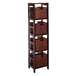 4 shelf bookcase with four wicker baskets in antique walnut