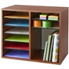 Adjustable Wooden Literature Organizer with 12 Compartments in Cherry, Gray, or Oak