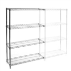 "12""d x 48""w Chrome Wire Shelving Add On Unit with Four Shelves"