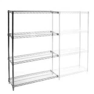"12""d x 72""w Chrome Wire Shelving Add-On Unit with 4 Shelves"