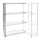 "18""d x 54""w Chrome Wire Shelving Add-On Unit with 4 Shelves"