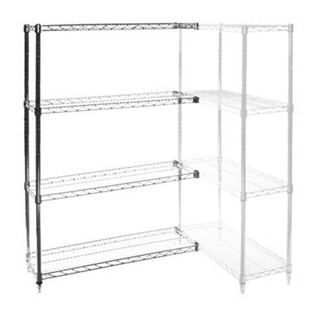"24""d x 60""w Chrome Wire Shelving Add On Unit with Four Shelves"