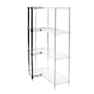 "8""d x 8""h Chrome Wire Shelving Add On Unit with Four Shelves"