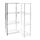 "8""d x 24""h Chrome Wire Shelving Add On Unit with Four Shelves"