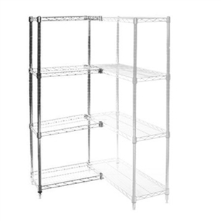"8""d x 30""h Chrome Wire Shelving Add On Unit with Four Shelves"